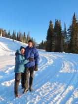 Janet & Jim on a very chilly morning in Yellowstone National Park.