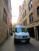Driving down a Chicago alley