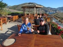 Diane & Janet Toasting Friendship & a Perfect Holiday on the Big Sur Coast.