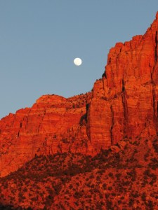 full moon over Zion National Park
