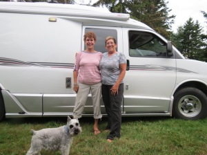 Barbara, Janet and Spencer the dog.