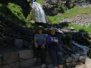 Janet & Mary hike to a waterfall