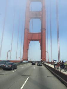 Driving across the Golden Gate, late July-Take note the fog.